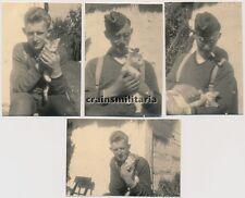 4x Orig. Foto Soldaten mit Kätze Kätzchen Katze in Polen 1941