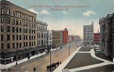 Illinois postcard Bloomington Main St. looking North from Jefferson street scene