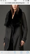 NWT BURBERRY AMESBURY Charcoal Shearling Coat Uk 10 US 8 EUR 38