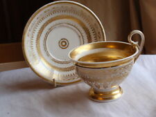 ANTIQUE EARLY 19TH C RUSSIAN CONTINENTAL PORCELAIN GOLD GILT CUP AND SAUCER