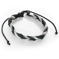 Vintage Faux Leather Bracelet Black Cord Braid Men Women Braided Adjustable Gift