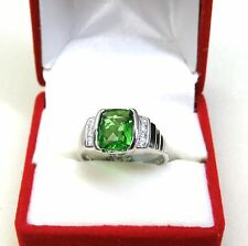 #R1162 1.5ct EM 8*10mm Forest Green Helenite Solid 925 Sterling Silver Ring