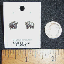 DAINTY AND TINY STERLING SILVER GRIZZLY BEAR PIERCED STUD EARRINGS