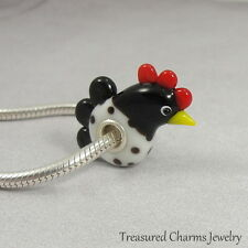 Rooster Hen Lampwork Glass Large Hole Bead Charm fits European Bracelets