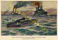 Farblitho Willy Stöwer U-Boot Seeschlacht Kaiserliche Marine Waffentechnik 1904