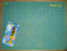 "OLFA Rotary Cutter RTY-2/G & Cutting Mat RM-IC-S 24"" x 18"" Fabric Leather Paper"