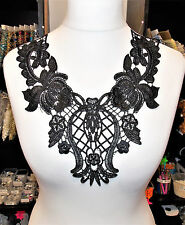 Black embroidered patch lace YOKE chest applique motif dress dance collar