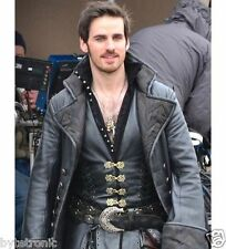 Captain Hook Once Upon A Time Black Leather Coat New Halloween Outfit 2016