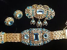 VTG Hobe Blue Rhinestone Bracelet Brooch Pin Earrings Set Lot 1940's Plz Read