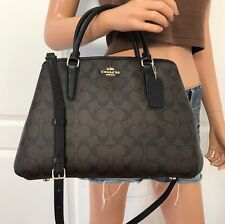 NWT COACH SIGNATURE BLACK BROWN SATCHEL PVC LEATHER CROSSBODY HANDBAG BAG PURSE