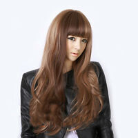 Fashion Women Stylish Long Curly Wavy Party Ladies Cosplay Flax Hair Full Wigs