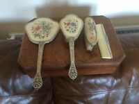 BEAUTIFUL VINTAGE EMBROIDERED PETIT POINT 4 PIECE DRESSING TABLE SET
