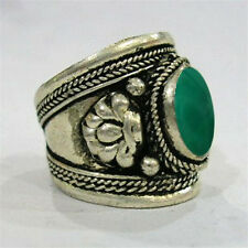 Large Adjustable Vintage Tibetan Oval Green Jade Gemstone Dorje Amulet Ring