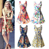Women Summer Beach Sundress Floral Tank Elegant Mini Dress Sleeveless Skater