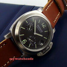 brushed 44mm parnis black dial Power Reserve seagull automatic mens watch P454