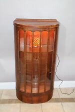 Antique Half Round Display Curio China Cabinet Original Wavy Glass Glass shelf