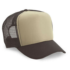 Wholesale Lot 1 Dozen / 12 Blank Foam Trucker Hats Cap Adjustable Beige/Brown