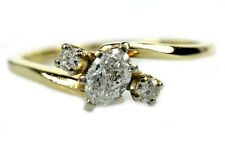 Women's .40 ct Diamond 3 Stone Ring E-D/VVS1-VS1 GIA Spec 14k Solid Yellow Gold