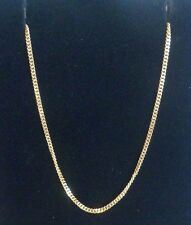 18ct  QUALITY YELLOW GOLD fine STRONG CURB CHAIN necklace Ideal for pendants 16""