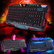USB Wired 3 Colors Crack Illuminated LED Backlight Multimedia PC Gaming Keyboard