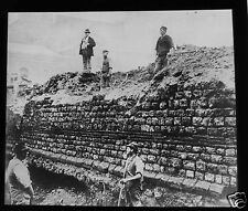 Glass Magic Lantern Slide VICTORIAN EXCAVATION C1890 POSSIBLY LONDON ARCHEOLOGY