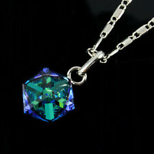 12mm Clear Blue Crystal Cube Necklace Cubist Pendant made with Swarovski Element