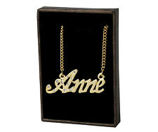 "Name Necklace ""ANNE"" - 18ct Gold Plated - CZ Crystals  - Engagement Wedding Gift"