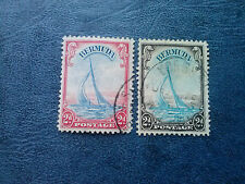 """1938 Bermuda Stamp Sc #109, 109a  2d KGVI Pictorial Yacht """"Lucie"""", vf used"""