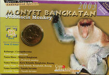 Malaysia Coin Card - Endangered Animals Series No. 12 Proboscis Monkey
