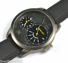 Henley Gents Mens BIG Black Dual Time Watch Two Independent Dials, Silicon Strap