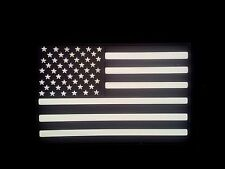 PVC USA Flag BLACK/GITD patch rubber POLICE SWAT LEFT ARM 3D Hook Backing