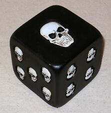 NEW~Creepy XL Black Dice with White Skulls Instead of Dots Decor Games