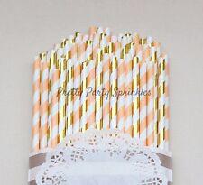50 Peach, Gold Foil Striped Straws, Rustic Peach Wedding Decorations, Tea Party