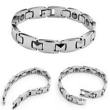 Mens 10mm Stainless Steel Energy Magnetic Therapy Bracelet Wristband Bangle Gift