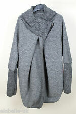 New Ladies Wool Mix Cocoon Lagenlook Coatigan Jacket Coat OSFA 10 12 14 16 18