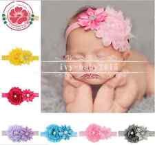 10Pc/Lot Baby Newborn Toddler Girls Double Shabby Trim Flower Hair Bow Headbands