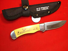 SCHRADE OLD TIMER SCRIMSHAW BUCK BEER HUNTING KNIFE LIL FINGER WITH SHEATH   W4