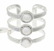 LUCKY BRAND Mother of Pearl Silver-Tone Etched Bar Cuff Bracelet $75