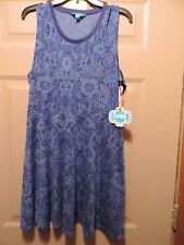 Junior Girl Lamour Nanette Lepore Dress size XL Blue Print sleeveless  NWT