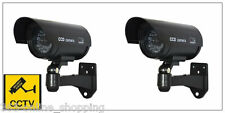 2x Outdoor Dummy Fake LED Flashing Security Camera CCTV Surveillance Imitation