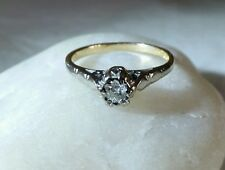 Vintage 18ct Yellow & White Gold Diamond  Solitaire Ring . Birmingham 1977