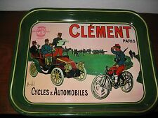 "Clement Paris Cycle & Automobile Antique Tray 13.25""x10.5"" RARE GREEN"