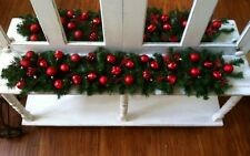 """Red Ornaments Stars Christmas Holiday Garland Mantle Table Runner Swag 56"""""""