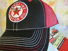 TEXACO STAR Gasoline Motor Oil SUMMER Red and Black Hat Adjustable Ball Cap NWT