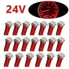 20* DC 24V Red T5 1SMD Car LED Wedge Dashboard Instrument Gauge Panel Light Bulb