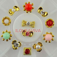 Colors Stones Jewelry Pearls Crystal Beaded Alloy Nail Art Rhinestones Decals