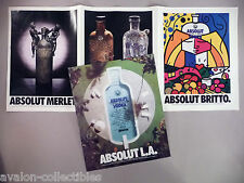 Absolut Vodka Four-Page PRINT AD - 1991 ~~ L.A., Britto, Merlet, Vallien