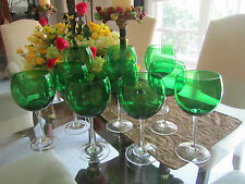 Vintage set of (10) Perfect Emerald Green Water/Wine goblets-Just lovely!