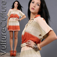 Vintage 70s Boho Mini Dress Orange Stripe Sunset Soft Jersey Hippie Sheer S/M