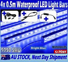 4X12V Waterproof BLUE 5050 Led Strip Lights Bars Camping Caravan Boat Cig